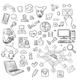 Hand drawn set of social media vector image