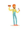 smiling bricklayer wearing orange safety helmet vector image