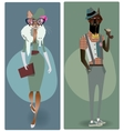 cute fashion hipster dog and cat vector image