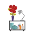 colorful decorative shelf with vase and lamp vector image
