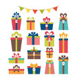 set of different gift boxes christmas presents vector image