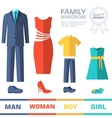Flat collection style fashion clothing for family vector image