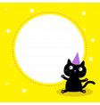 Frame with cute cartoon black cat Birthday hat vector image
