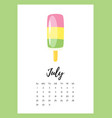 july 2018 year calendar page vector image