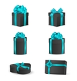 Set of black gift boxes with blue bows and ribbons vector image