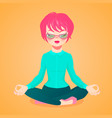 young businesswoman meditating i vector image