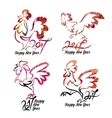 Set cute hand drawn characters of rooster vector image