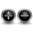 Metallic plus and minus buttons vector image