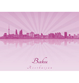 Baku skyline in purple radiant orchid vector image