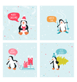 Penguin Christmas Cards vector image vector image