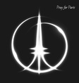 Pray for Paris Peace White lighting effects vector image