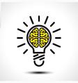 light bulb idea with brain logo template vector image