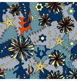 marine flowers colorful seamless pattern vector image