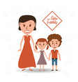 retro family mother with their children vector image