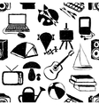seamless doodle hobby pattern vector image