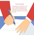 Signing of an agreement vector image