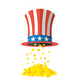 Uncle Sam hat and gold Cylinder Uncle Sam and gold vector image