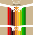 Welcome back to school with hands and Colour vector image