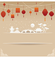 Decorative Chinese Background with Red Lamp and Sn vector image