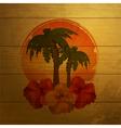 tropical emblem on wood vector image
