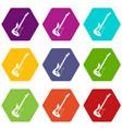 acoustic guitar icon set color hexahedron vector image