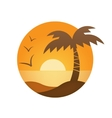 orange sunset palm vector image