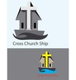 Cross Church Ship Logo vector image