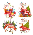 Merry Christmas banner set with Santa Claus vector image