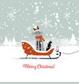 christmas card design sledge with santa cat vector image