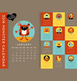 colorful 2018 calendar with monsters vector image