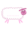 Cute beautiful sheep with blank sign vector image
