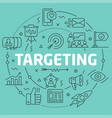 Green line flat circle targeting vector image