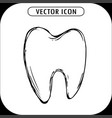 hand drawn tooth icon vector image