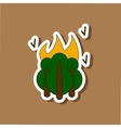 paper sticker on stylish background fire in the vector image