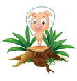 A female pig playing above the stump vector image vector image