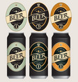 beer labels for three beer cans vector image vector image