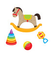 toys pyramid horse ball and rattle toy vector image