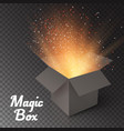 Magic Box with Confetti and Magic Light Realistic vector image