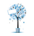 Beautiful winter tree in pot for your design vector image vector image