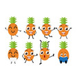 happy pineapple cartoon character vector image