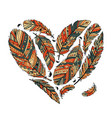 feather collection heart shape for your design vector image vector image