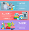 banners for home cleaning and washing vector image vector image