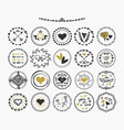 Black and golden hand drawn cute circle hearts vector image
