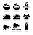 Mexican food icons - tacos nachos burrito quesa vector image