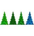 set of abstract polygonal christmas trees vector image