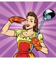 Retro housewife in kitchen vector image