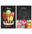 price menu for ice cream desserts cafe vector image