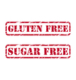 Gluten free and sugar free rubber stamps vector image