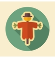 Scarecrow retro flat icon with long shadow vector image