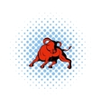 Bull icon in comics style vector image